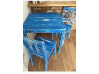 Painted Indian Blue Solid Wood Table & Chairs