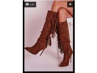 CHEAP Brand New MISSGUIDED Boxed Perfect Gift Present Heeled Tassel Knee High Boots