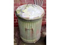 old vintage light weight metal dustbin. nice colours for logs bird feed seed compost