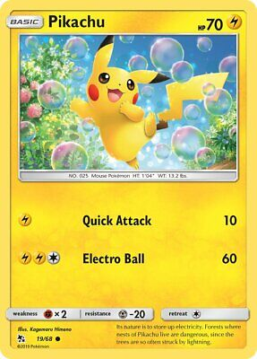Pikachu 19/68 - Common Pokemon Card - Hidden Fates Set (2019) - NM