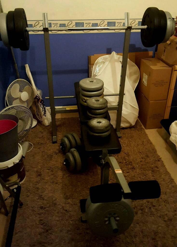 Weights, bench and bars