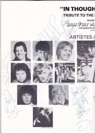 Billy Fury Memorial concert programme signed by the stars