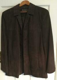 New Real Leather Three Quarter Suede Coat Dark Brown.