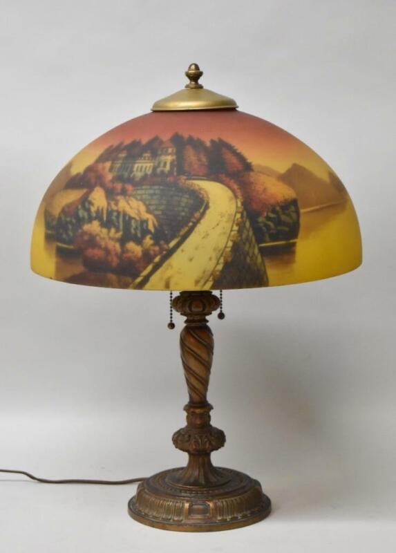 Antique Reverse Painted Castle Scene Table Lamp Phoenix Lamp Co.