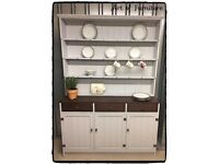 """Pine Solid Large Farmhouse Welsh Kitchen Dresser Hand Painted in Mineral Fusion Paint """"Upcycled """""""
