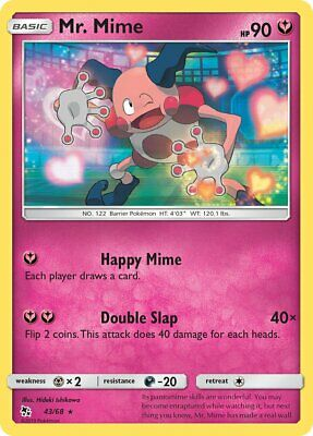 Mr. Mime 43/68 - Rare Pokemon Card - Hidden Fates Set (2019) - NM