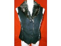 """Lovely Marks & Spencer """"Per Una"""" Chocolate Brown Faux Fur Waistcoat Gillet"""