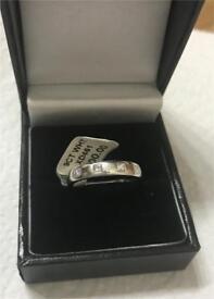 9kt White Gold Brown & Newirth Princess Diamond Eternity wedding Band Ring