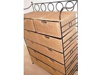 Wicker and metal Chest of 6 Drawers