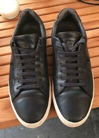 Hugo Boss trainers - Lace-up trainers in buffalo leather Colour - Dark blue