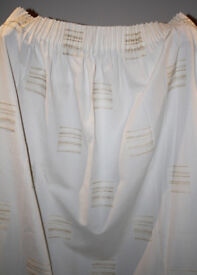 Pair of Cream Curtains 210cm Drop Rufflette Heading Tape (7 pairs available)