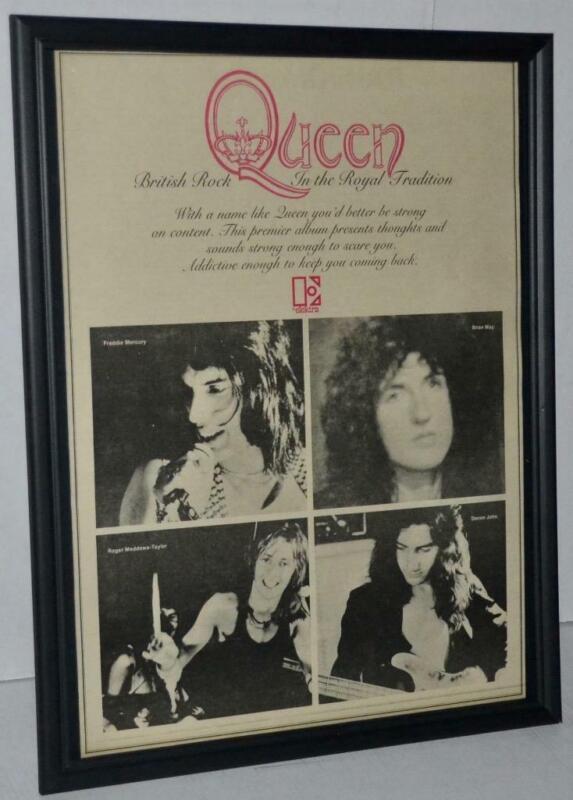 QUEEN 1973 PREMIER DEBUT LP BRITISH ROYAL ROCK PROMOTIONAL FRAMED POSTER / AD