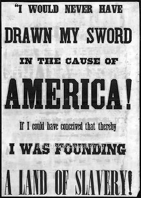 Poster.  19th Century. Slavery   i Would Never Have Drawn My Sword ...