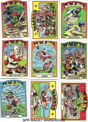 TOPPS WACKY PACKAGES OLD SCHOOL 4 COMPLETE BASEBALL SET 9 CARDS BLUE WEAKIES