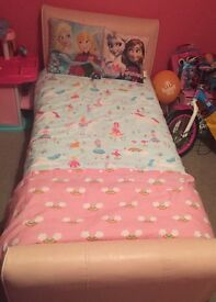 Pink leather single bed for sale