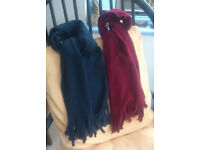 Fleecy scarves x 2 (burgundy & blue) - good condition & clean, soft & warm