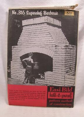 1952 Easi Bild Man Sized Barbecue Step By Step Plan Brick Construction Smoker