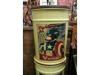 Captain America Vintage Style storage stool box metal base wood top lifts