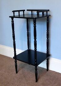 """Retro / Vintage Black Wooden Hall Table with attractive detail H 29"""" /74cmW13.5""""/34cm D12""""/30cm"""