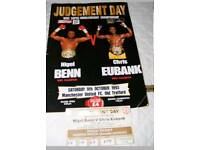 Nigel Benn vrs Chis Eubank onsite boxing programme and ticket