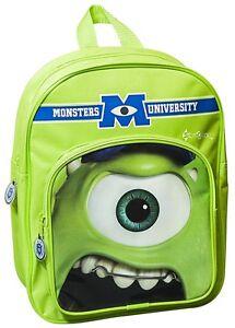 Official Monsters University Mike Backpack w Pocket Rucksack Bag School Inc