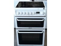 hotpoint 60cm wide double oven and grill electric ceramic cooker in white colour