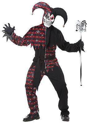 IT Sinister Jester Joker Crazy Clown Renaissance Adult Costume - Crazy Clown Costume