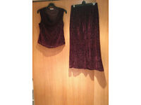 GEORGE LADIES WINE BURGUNDY 2 PIECE SET SKIRT & BLOUSE SIZE UK 10