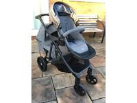 BRITAX B-Ready Double Seat Pushchair w/ Carry Cot (Grey, used, good condition)
