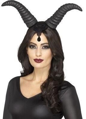 Demonic Queen Horns on a Headband Evil Black Adult Halloween Costume Accessory - Halloween Black Horns