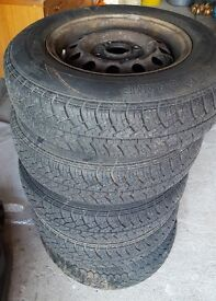 Fors Sierra Escort Orion steel wheels and wheel trims with tires x 5 - nearly new tires