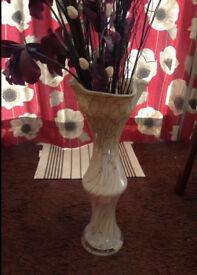 60cm (2ft) Cream/Beige Ceramic Floor Vase