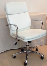 WHITE LEATHER SWIVEL OFFICE CHAIR FROM JOHN LEWIS
