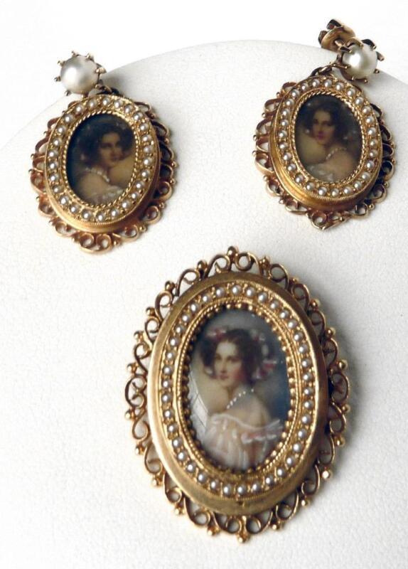 Vintage 14K Gold Miniature Hand Painted Portrait Pendant Pin Earrings Set 18.5g