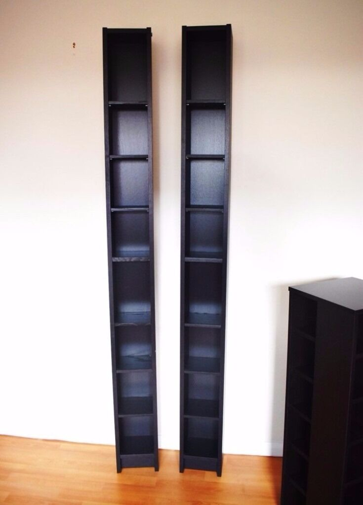 One ikea tall tower dvd cd games storage unit in black - Ikea porta cd billy ...