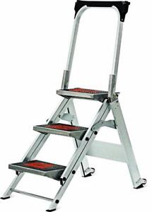 New Little Giant Ladder Systems 10310BA Safety Step Stepladder with Handrail, 3-Step DI16