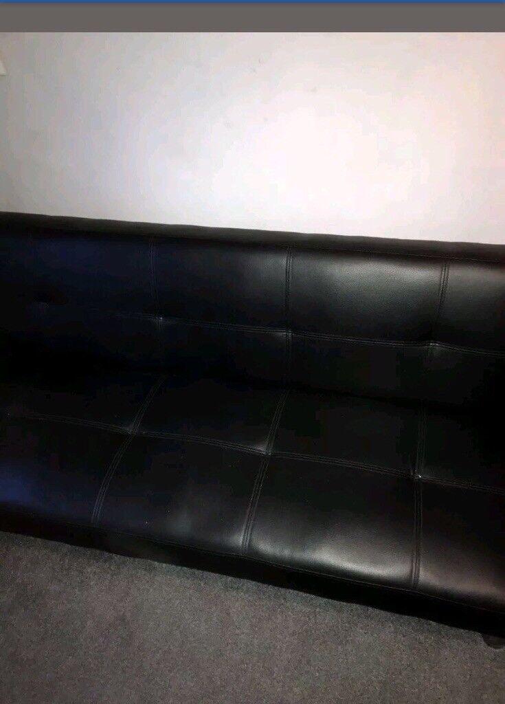 Black Leather Folding Sofa Bed