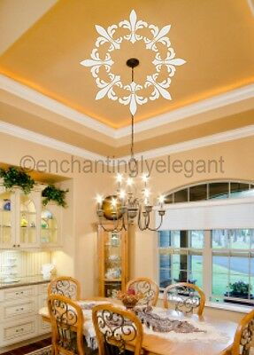 Decal Medallion - Ceiling Light Medallion Ornament Fleur De Lis Vinyl Decal Wall Sticker Decor