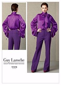 Pussybow Top and Trousers Guy Laroche Vogue Pattern V1416.Sizes 14-16-18 -20 -22