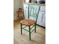 painted chair. vintage chair. kitchen chair. Dining chair. Green chair. wooden school chair(1539)