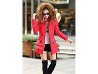 UK 8-10 High quality Hooded Fur collar Women Winter coat