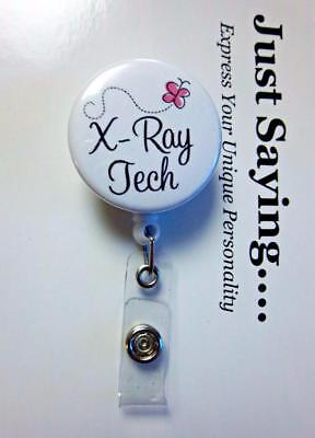 (X-Ray Tech Technician Butterfly   ~ Retractable Reel ID Badge Holder)