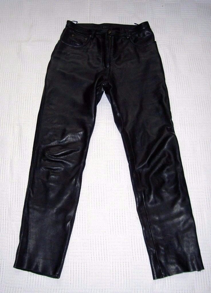 MOTORBIKE BELLSTAFF BLACK LADIES LEATHER TROUSERS UK SIZE 14 - EXCELLENT CONDITION