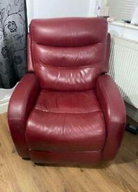Real Leather, Electric Reclining Chair.