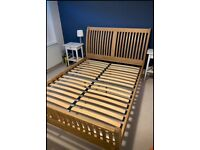 Solid Oak Double Sleigh Bed Frame, Strong and Solid, Great Condition - SAME DAY DELIVERY