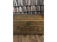 Hand crafted wooden trunk