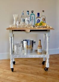 🎄🎄 PRIORY STYLE OAK DROP LEAF, TWO TIER TROLLEY Hand Painted 🎄🎄