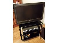 """Sony Television - Flatscreen 28"""" with Freeview and separate DVD player and stand."""