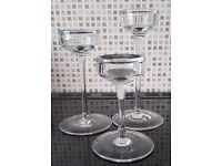 Set of 3 Clear Glass Candle Holders - Excellent Condition ** AVAILABLE TODAY **