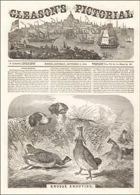 BIRD HUNTING, GROUSE, POINTER DOGS, antique engraving, original 1854